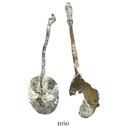 1733 Fleet. Pair of spoons (one brass, one pewter).