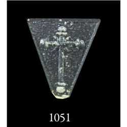 Crystal panel with cross design as from a rosary.