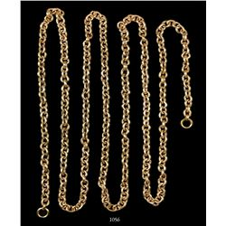 "Long, gold ""money"" chain, complete with end rings."