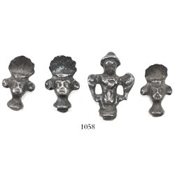 Lot of 4 silver game finials, ex-Castells.