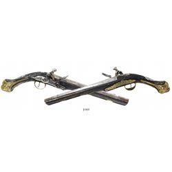 Matched pair of Eastern European horsemen's flintlock pistols, 1700s.