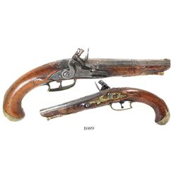 European military officer's flintlock pistol, mid-1700s.