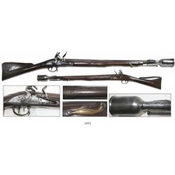 British East India Co. brown bess musket / grenade launcher, dated 1793 and marked with EIC logo and