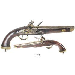 Belgian sea-service flintlock pistol, early 1800s.
