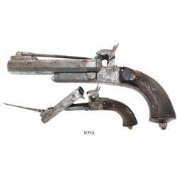 Boxlock percussion pistol, double-barreled with bayonet, mid-1800s.