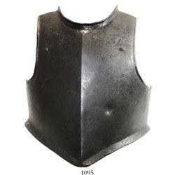 European steel armor breastplate, 1600s.