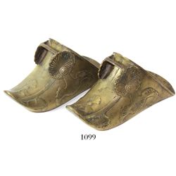 Pair of brass Spanish covered stirrups (estribos), late 1700s to early 1800s.