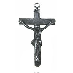 Spanish colonial silver crucifix, mid-1700s, from the area of the Ocilla River in north Florida.