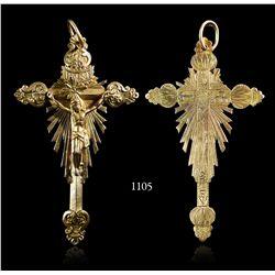 Gold crucifix, late 1700s, Spanish or Portuguese.