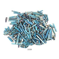 Lot of hundreds of long, blue, tubular, glass trade beads, Spanish colonial, 1500s-1600s.