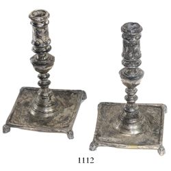 Pair of Spanish (?) colonial-period silverplated brass candlestick holders.