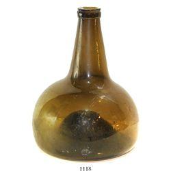 "Dutch glass ""onion"" bottle, ca. 1750."