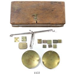 Steel/brass English balance scales for gold coins, with weights, in original case, made by Freeman &
