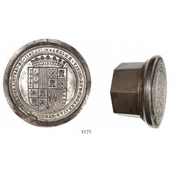 Large steel die for wax seals on official Spanish documents, Isabel II (1833-68).