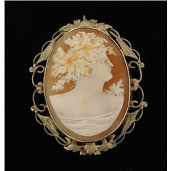 Fine Antique 10K Shell Cameo