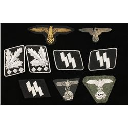 German WWII 7 Waffen SS Cloth & Insignia Grouping