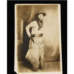 Cowboy Wearing Wooly Chaps Photo Postcard