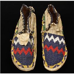 Pair of Sioux Indian Man's Beaded Moccasins