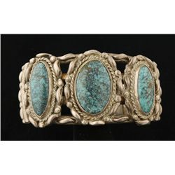 Traditional 3 Stone Turquoise Cuff Bracelet