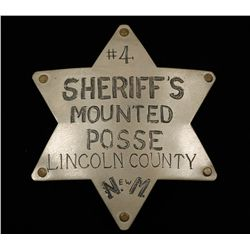 Old West Sheriff's Mounted Posse New Mexico Badge