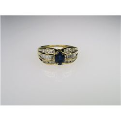 Vibrant Blue Sapphire and Diamond Ring.
