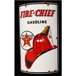 Antique Texaco Fire Chief Gasoline Porcelain Sign