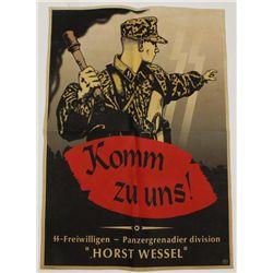 German WW2 Waffen SS Horst Wessel Recruit Poster