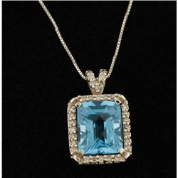 Colorful 14K Blue Topaz & Diamond Pendant