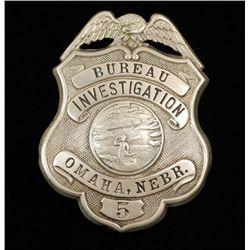 Vintage Bureau Investigation Omaha NE Police Badge