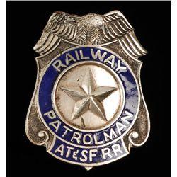 Vintage AT & SF Railway Patrolman Law Badge