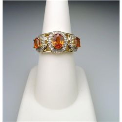 Fabulous Orange Sapphire and Diamond Ring