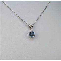 Brilliant Aquamarine and Diamond Solitaire Pendant