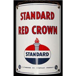 Vintage Standard Red Crown Gasoline Porcelain Sign