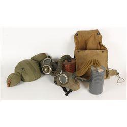 Lot  of (2) Gas Masks & Helmet