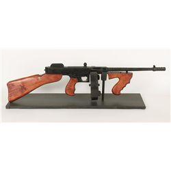 Handmade Wooden Tommy Gun on stand