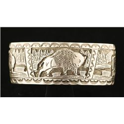 Storyteller Bison Cuff by Navajo Richard Thomas