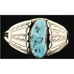 Lovely Silver & Turquoise Tony Guerro Cuff