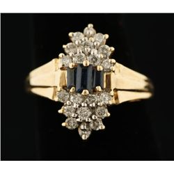 Exquisite Sapphire & Diamond 14K Yellow Gold Ring