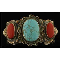 Albert Cleveland Turquoise & Coral Cuff