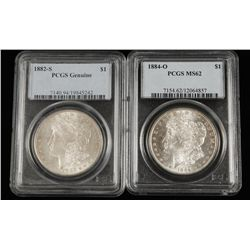 Lot of Two Coins. 1182-S PCGS & 1884-O PCGS MS62