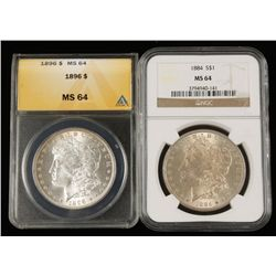 Lot of 2 Coins. 1896 MS64 & 1884 S$1 MS64 ANACS