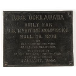 Large Ships Plaque from the USS Ocklawaha