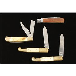 Lot of 4 folding blade knives