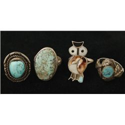 Lot of 4 Native American Rings
