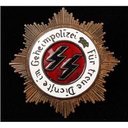 German WW2 Waffen SS Geheim Polzei 1st Class Badge