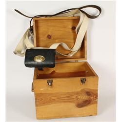 Wooden box and repro US ammo belt for muzzleloader