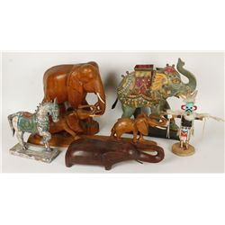 Lot of 1 Horse Statues, 4 Elephant Statues