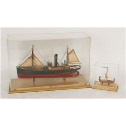 Lot of (2) Model Hand Crafted Ships