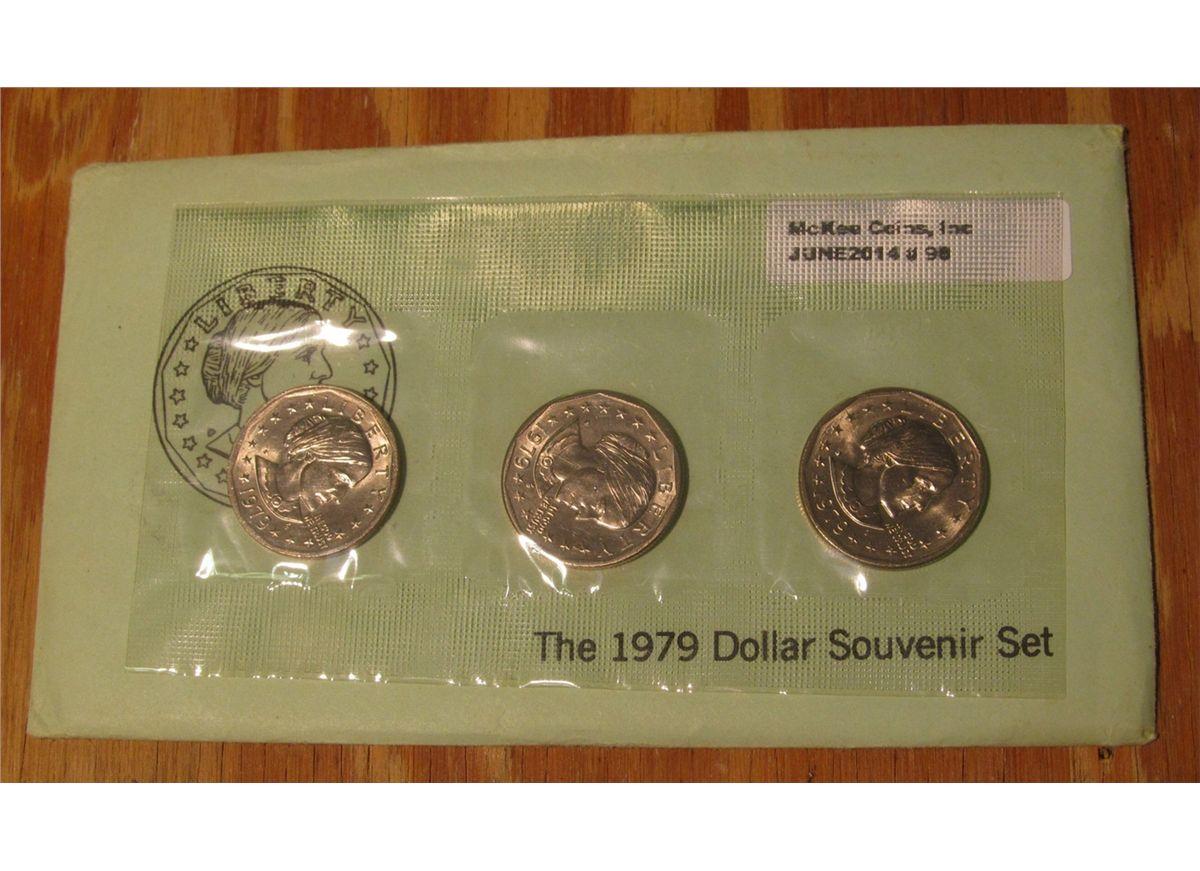1979 P+D+S Susan B Anthony Susan B Anthony Dollar 3 Coin Set Lot