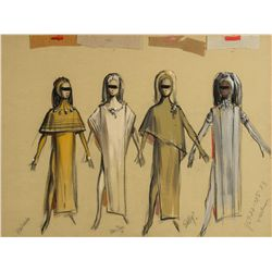 Morton Haack Costume Sketch with Fabric Swatches of the Mutants from Beneath the Planet of the Apes
